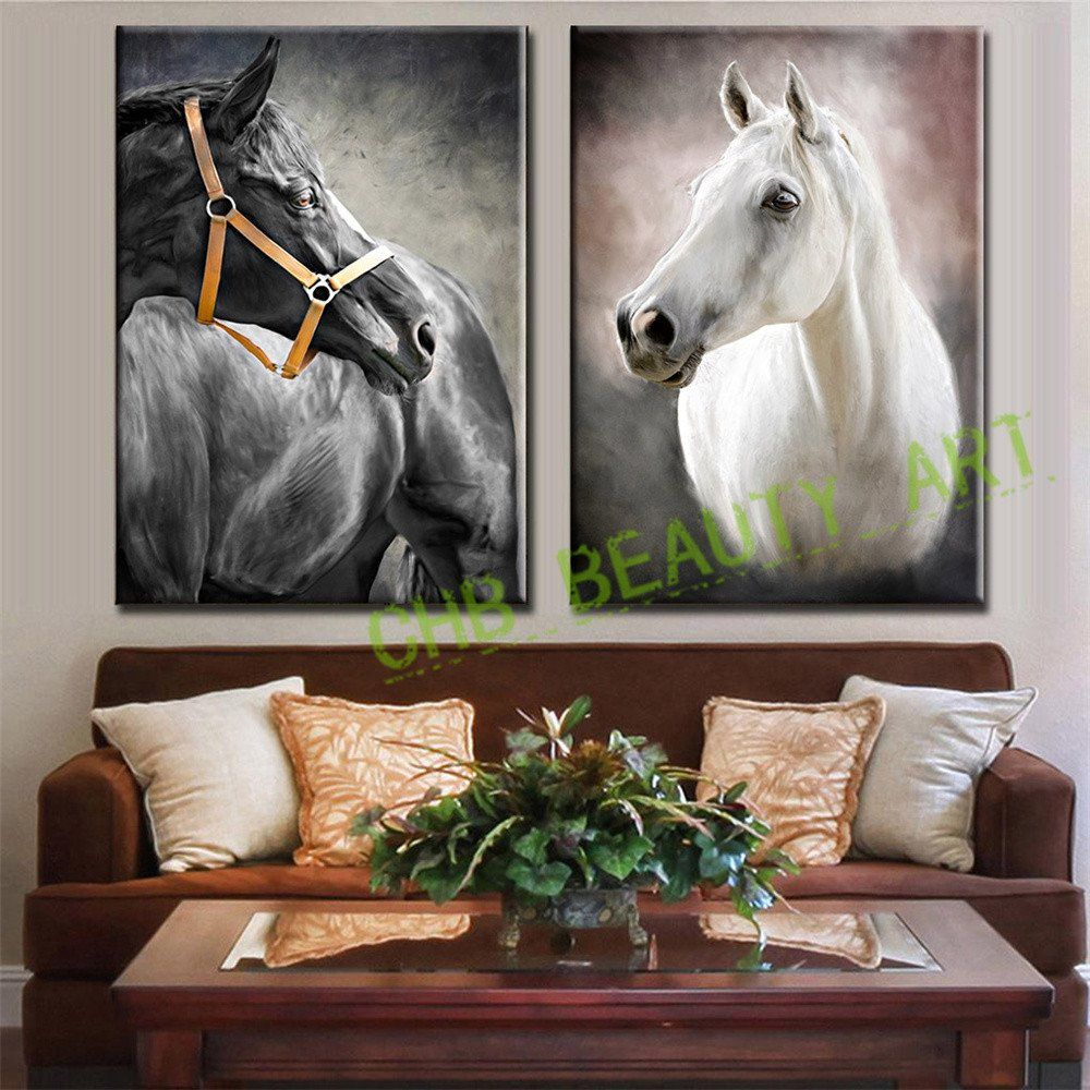 2 Pcs Set Modern Oil Painting Art Black White Horse Hd Print Canvas Painting Wall Pictures For Living Room Decorative Pictures
