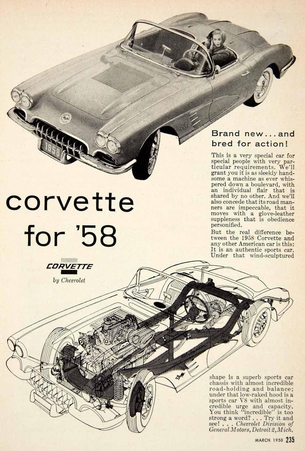 1958 ad for the 1958 Chevrolet Corvette 2door convertible sports