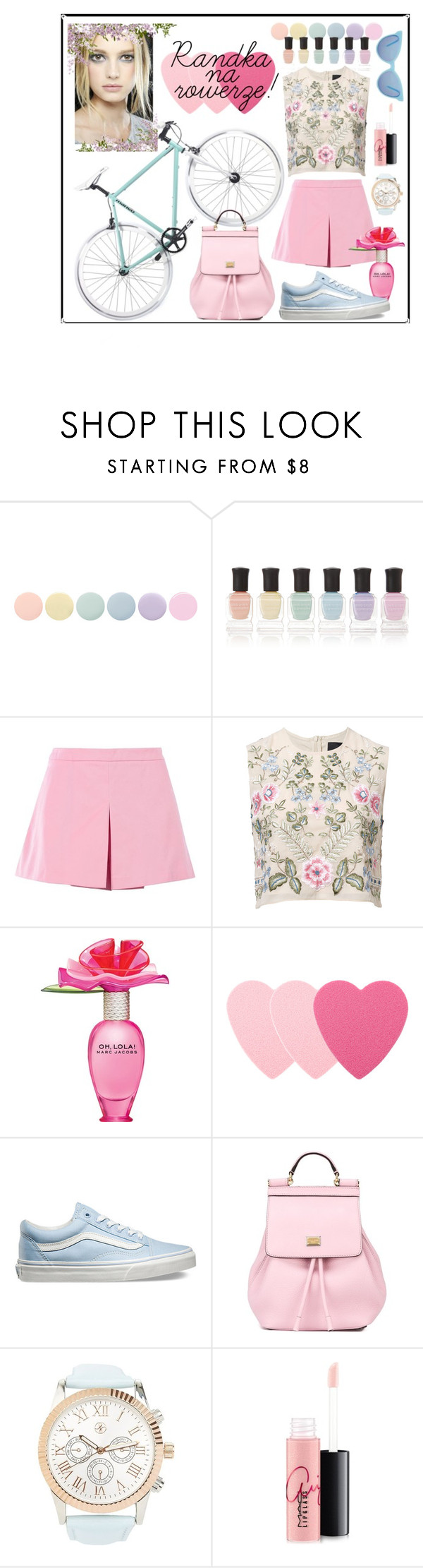 """""""Bicycle date"""" by vea89 ❤ liked on Polyvore featuring Deborah Lippmann, Love Moschino, Needle & Thread, Marc Jacobs, Sephora Collection, Vans, Dolce&Gabbana, Charlotte Russe, MAC Cosmetics and Wildfox"""
