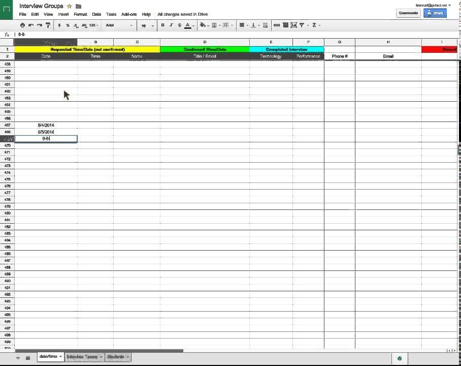 Quick Tutorial Auto fill dates down a column in Google Spreadsheet