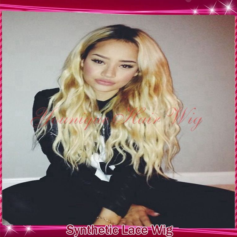 Find More Synthetic Wigs Information about Fast shipping cheap long high quality heat resistant two tone black and blond ombre synthetic lace front wig,middle part3inch613,High Quality wig cosplay,China wig guy Suppliers, Cheap wig tape from younique queen hair on Aliexpress.com