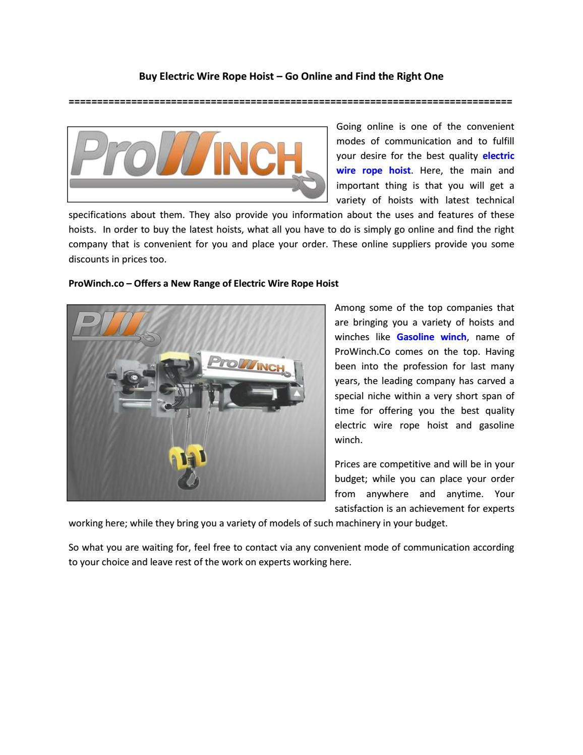 Buy Electric Wire Rope Hoist – Go Online and Find the Right One ...