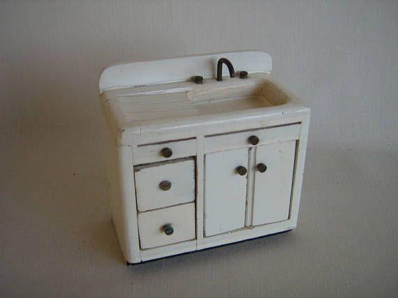 Dollhouse Kitchen Sink Vintage 1950s60s chestnut hill studios miniature dollhouse white vintage 1950s miniature dollhouse white wooden kitchen sink w workwithnaturefo