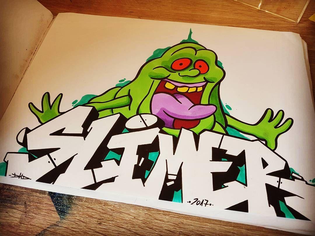 Ghostbusters slimer 👻 ghostbusters theghostbusters slimer comic cartoon ghostbustersgraffiti graffiti graffitiart graffitiartist