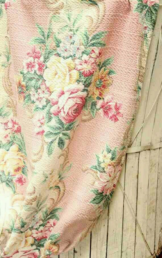 1930s Pink Barkcloth Faded Florals In 2019 Vintage
