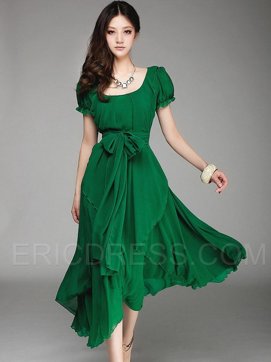 Slash Neck Falbala Chiffon Dress  CLOTHING  DRESSES SKIRTS