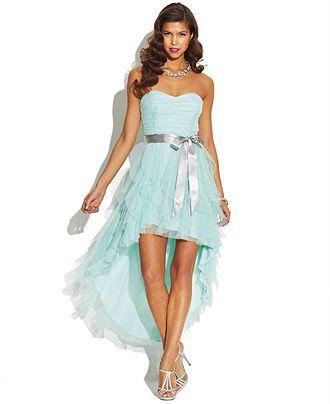 8229d0af5 Teeze Me Juniors' Ruffled Sweetheart High-Low Dress - Juniors Dresses -  Macy's