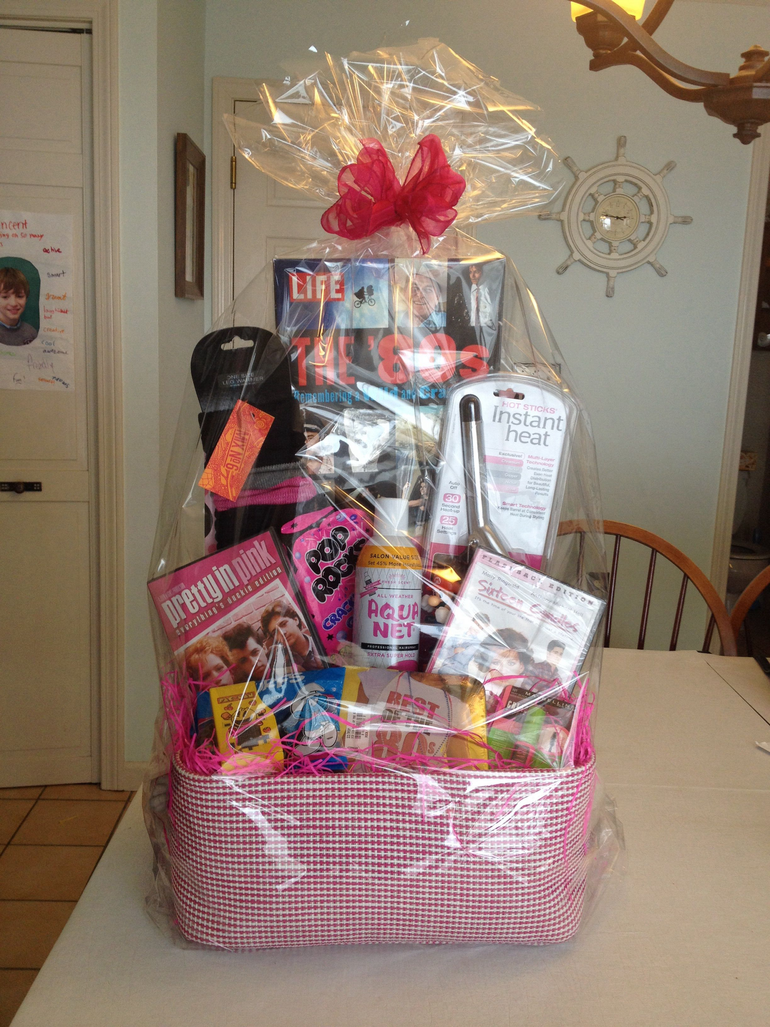 80 S Basket Theme Baskets Auction Gift Basket Ideas Themed Gift Baskets