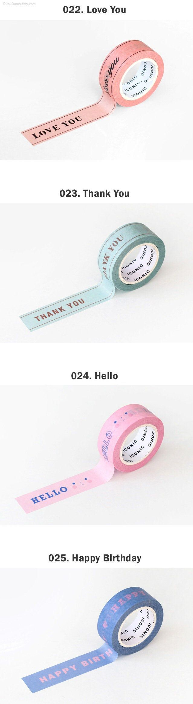 MESSAGE Washi Tape / Love You Thank You Hello Happy | Etsy