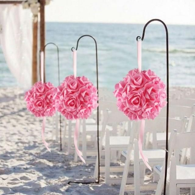 10pcs14cm Foam Flower Ball Artificial Rose Hanging Kissing Balls For Wedding Party Decoration Flower Ball Foam Flowers Hanging Flowers