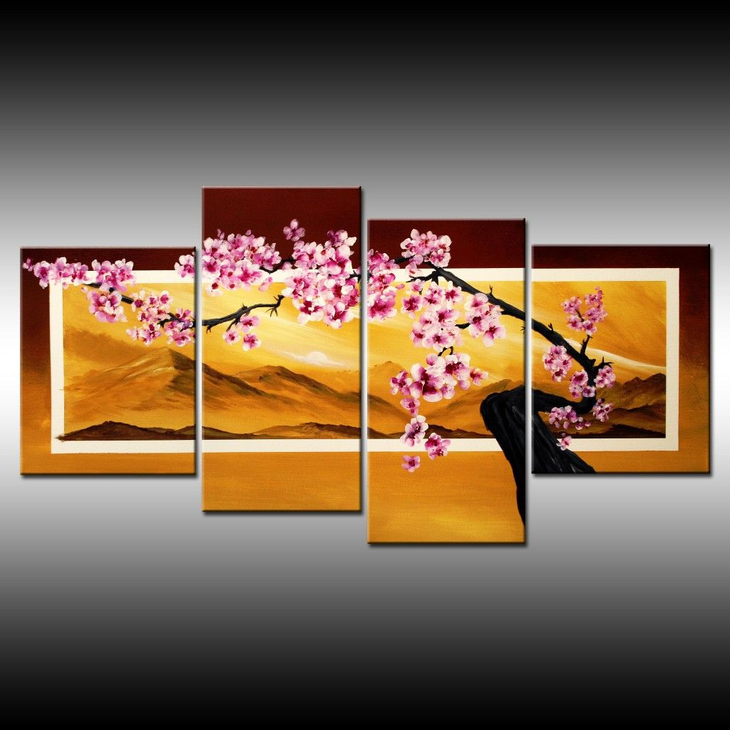 Like The Different Sized Canvases With Images Cherry Blossom Painting Multiple Canvas