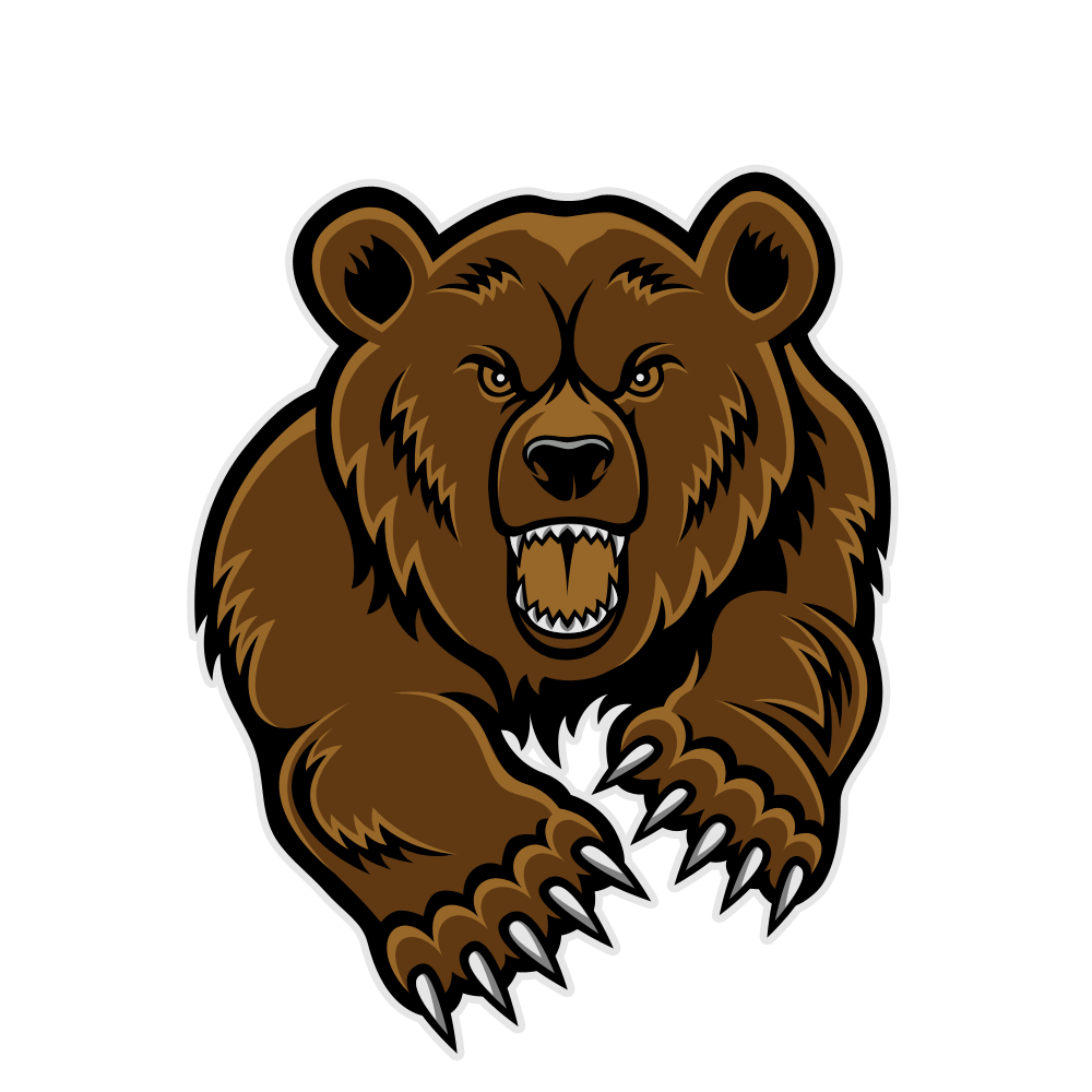 Bear fierce. Grizzly mascot clipart panda