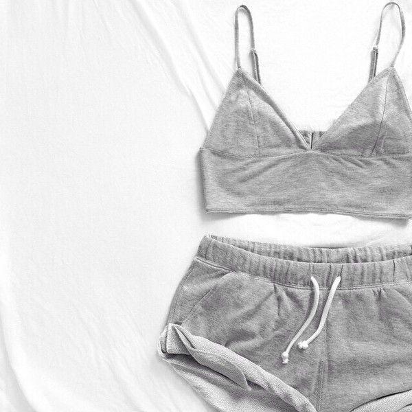 Shirt grey crop top grey grey shorts matching set night