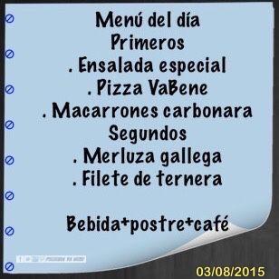 El menú del día, que tengan un feliz inicio de semana. #VaBeneSnackBar #Sada #Spain