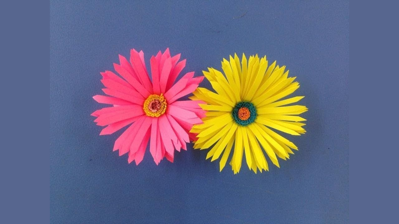 How To Make A Little Sun Flower With Paper Papercraft Pinterest