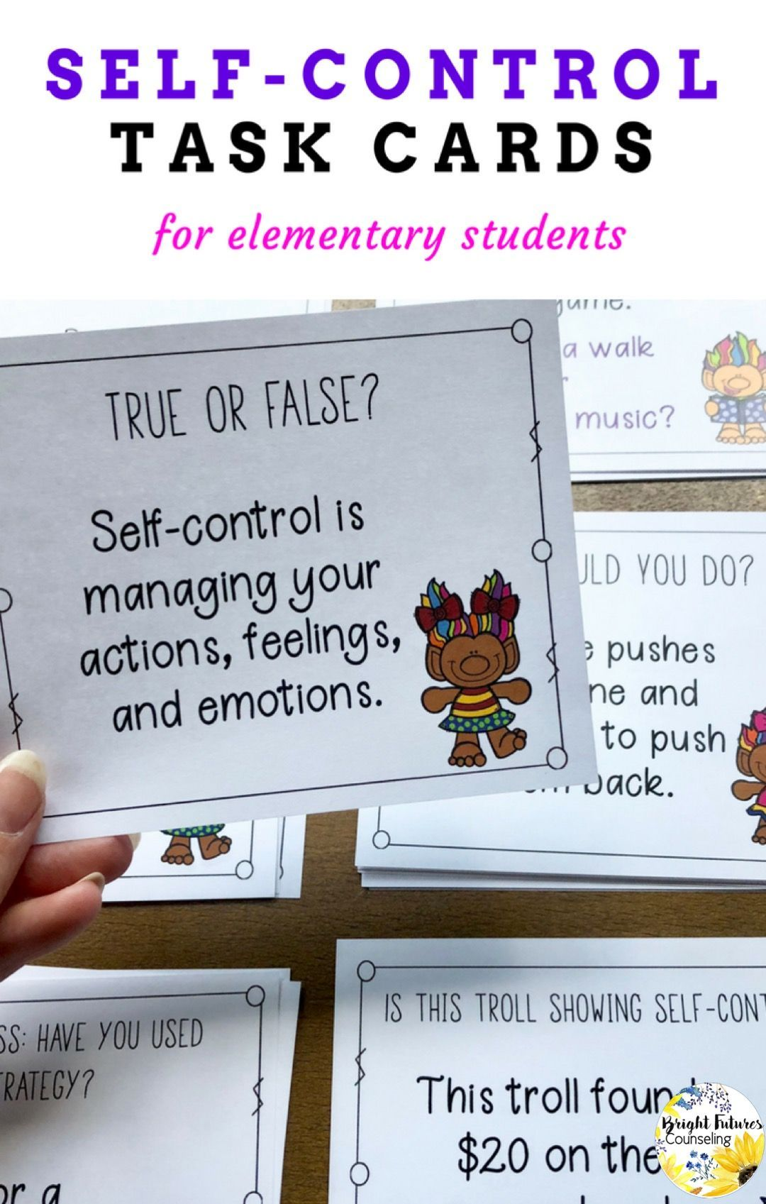Self Control Task Cards Self Controlls Counseling Cards