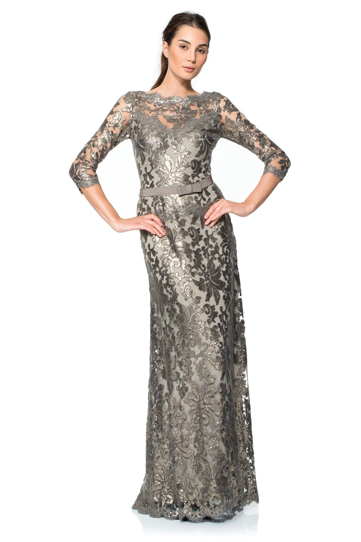 Paillette Embroidered Lace ¾ Sleeve Gown | Tadashi Shoji | clothes ...