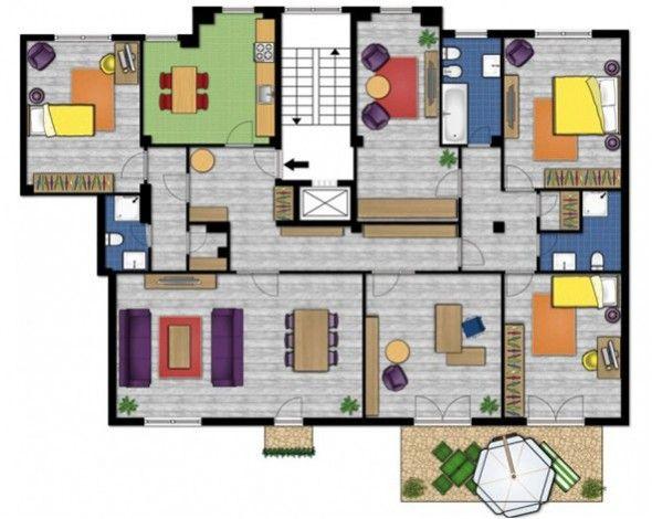 Plano de mi casa est formada para tres dormitorios uno for Appartamenti con planimetrie