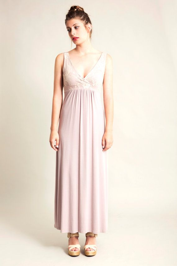Summer maxi dress, Light pink bridesmaid dress, V neck blush dress ...