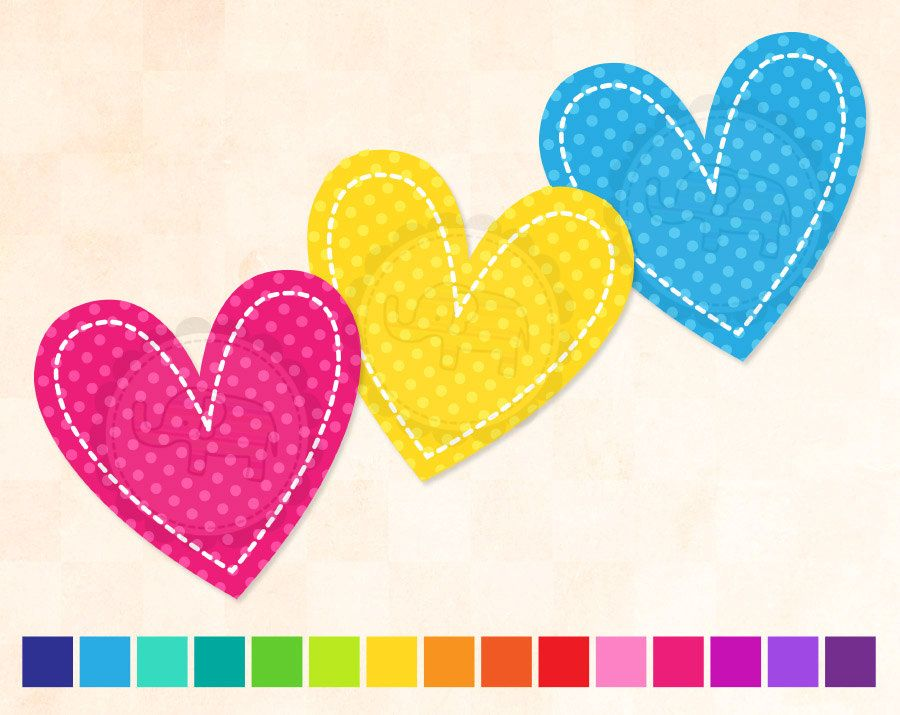 Clip Art Basics Polka Dot Hearts