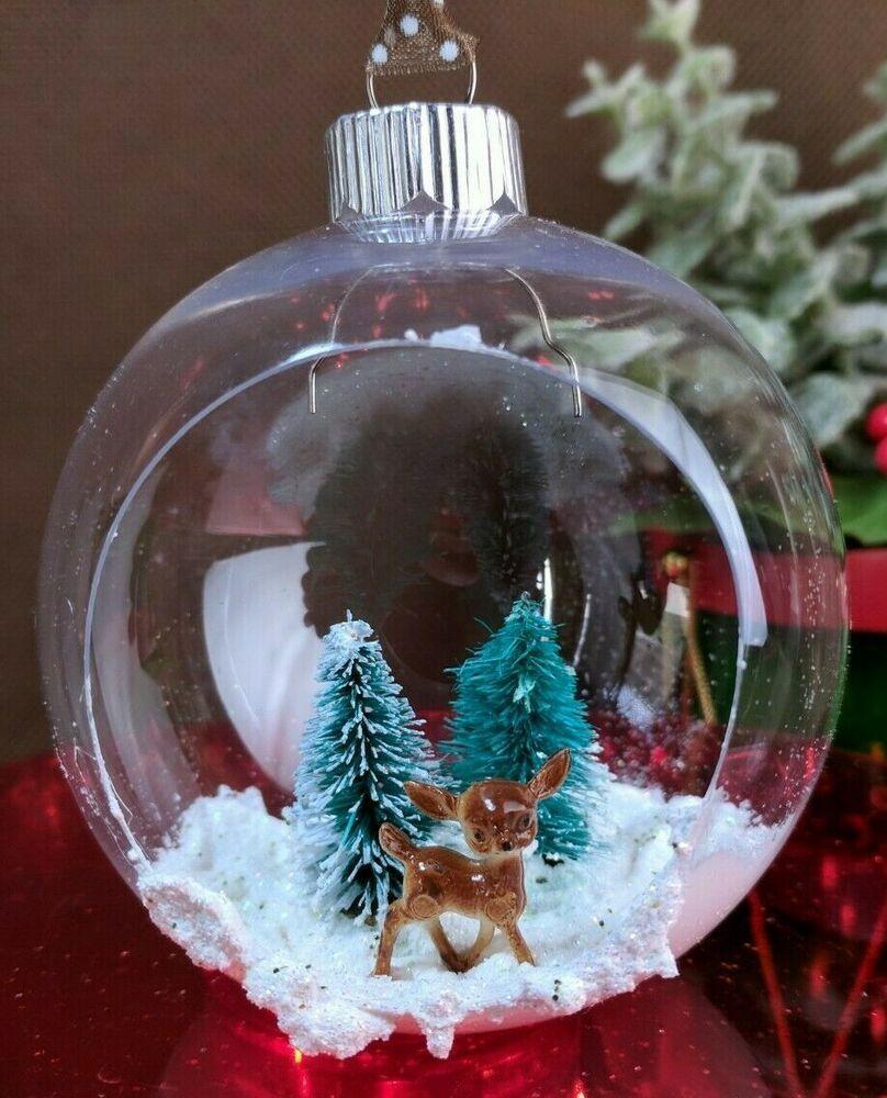 Ooak Open Ornament Diorama Christmas Assemblage Handmade W Vintage Deer Handmade Christmas Christmas Bulbs Christmas Ornaments Christmas Crafts