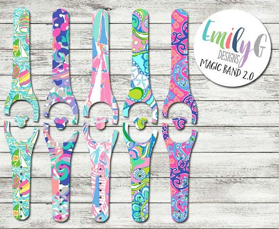 Lilly pulitzer inspired disney magic band 2 0 decal or skin custom waterproof magicband wrap
