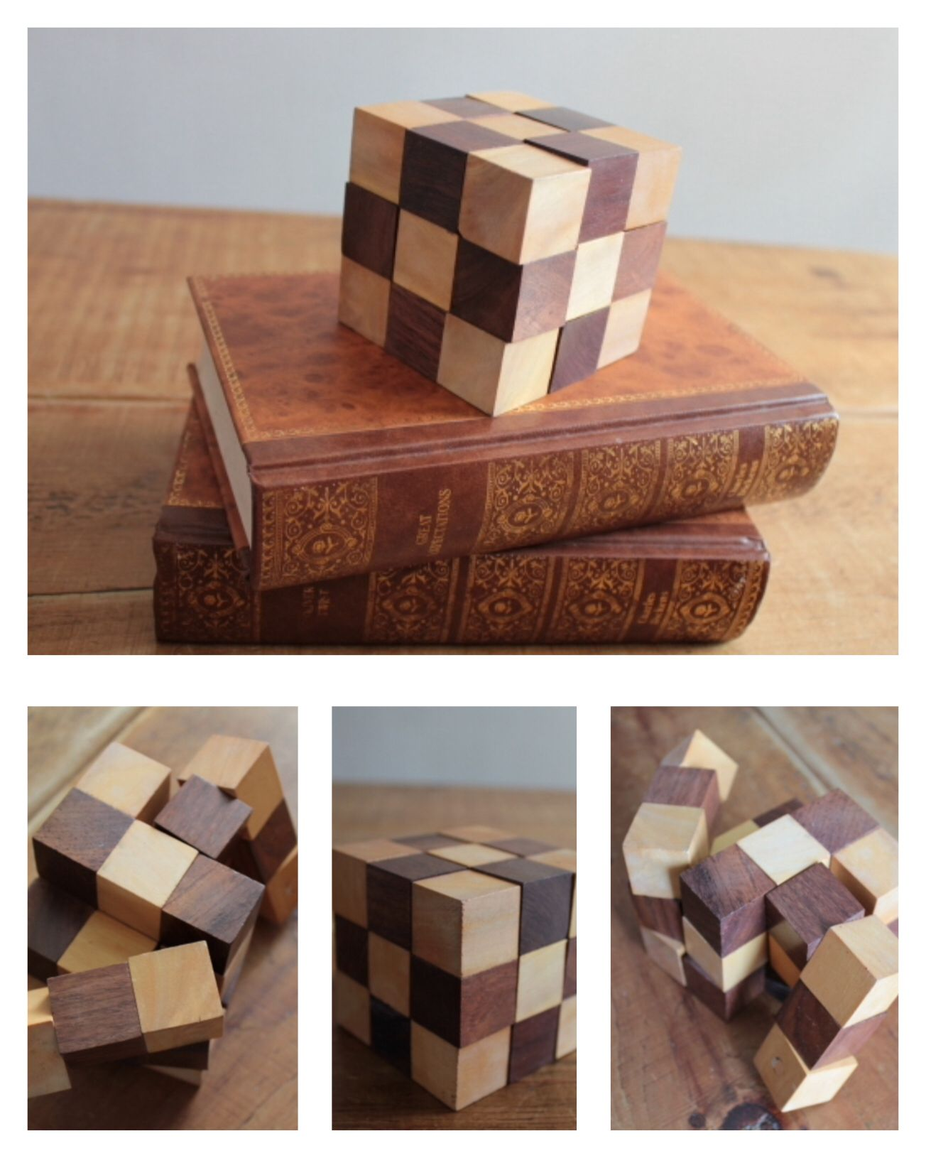 A Handcrafted Solid Wooden Snake Cube Puzzle Beautifully Crafted Made Out