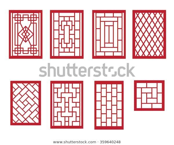 Set Chinese Pattern Window Frame Stock Vector (Royalty Free)…