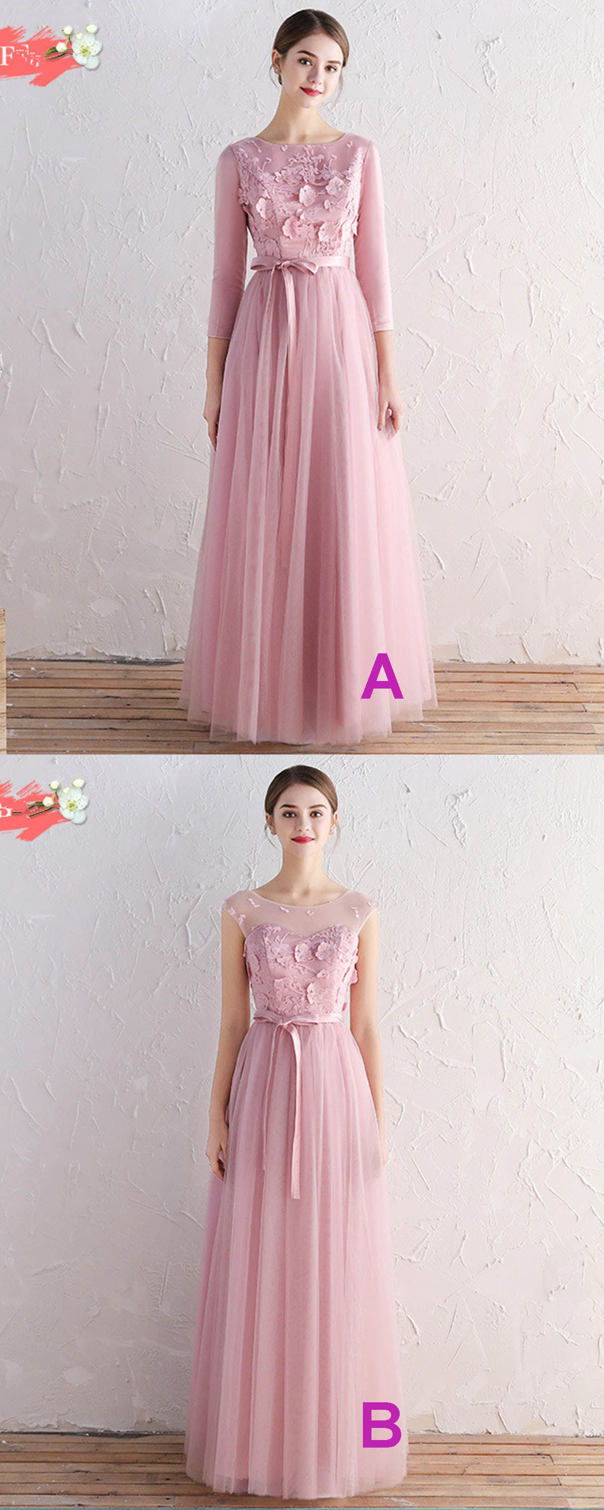 Pink tulle scoop neck long aline prom dress bridesmaid dress with