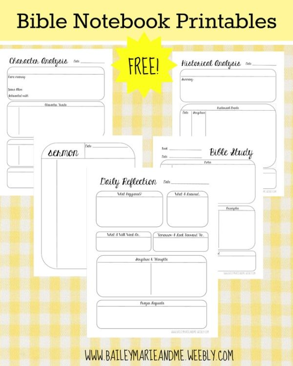FREE Bible Notebook Printables | Bailey Marie & Me by