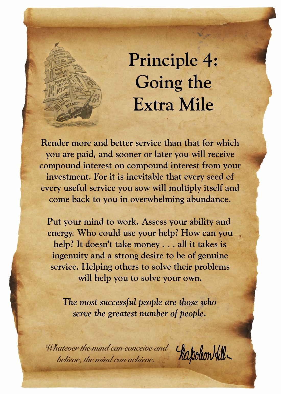 Think And Grow Rich Principle 4 Going The Extra Mile Success Principles Think And Grow Rich Napoleon Hill Quotes