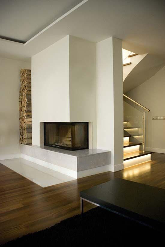 Die Treppe - aber mit Naturholz Ideeën voor het huis Pinterest - wohnzimmer ideen kamin