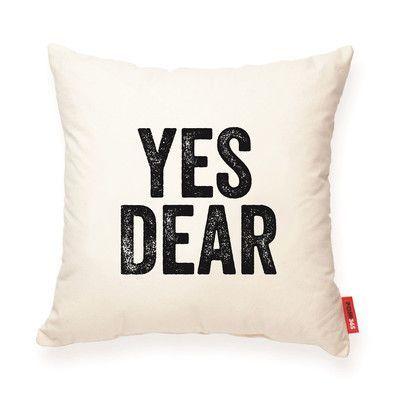 Posh365 Expressive Yes Dear Cotton Throw Pillow Burlap Throw Pillows Throw Pillows Pillows