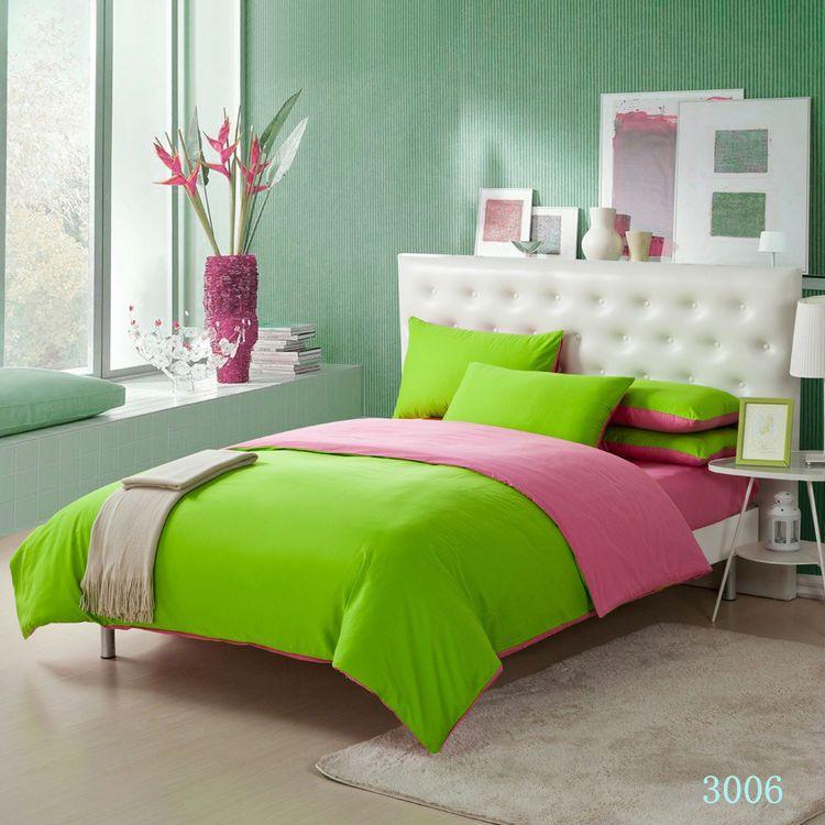 Solid Color Green Pink Bedding Set