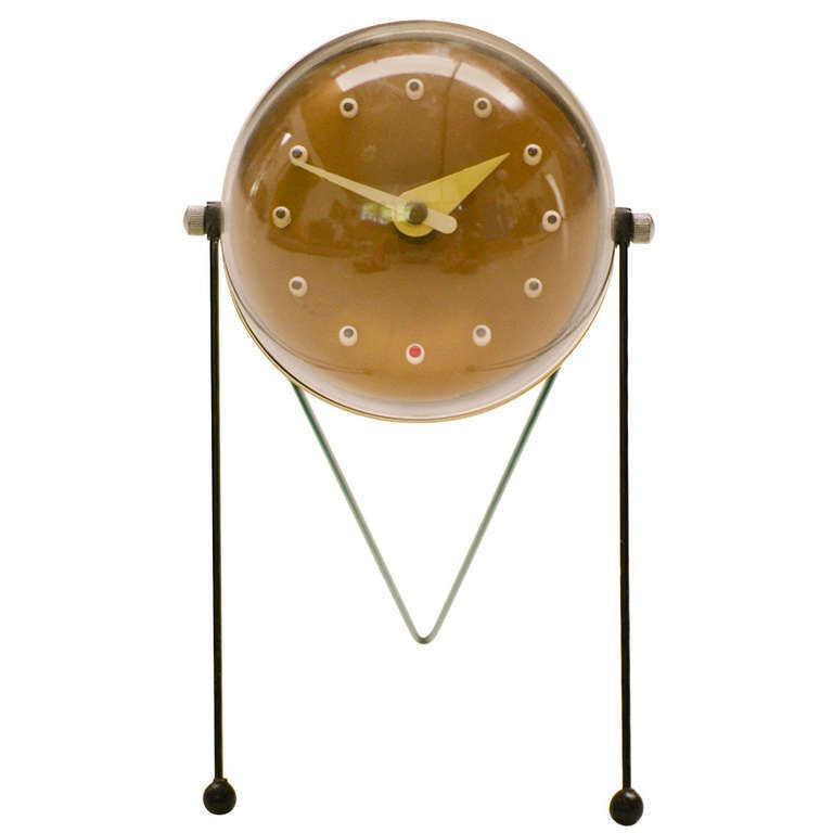 Rare 1950s Table Clock, Atomic Inspired Design | From a unique collection of antique and modern clocks at http://www.1stdibs.com/furniture/more-furniture-collectibles/clocks/