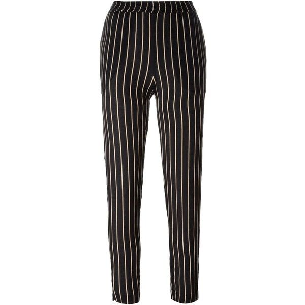 Won Hundred Striped Trousers (€155) ❤ liked on Polyvore featuring pants, black, stripe pants, striped trousers, striped pants and won hundred