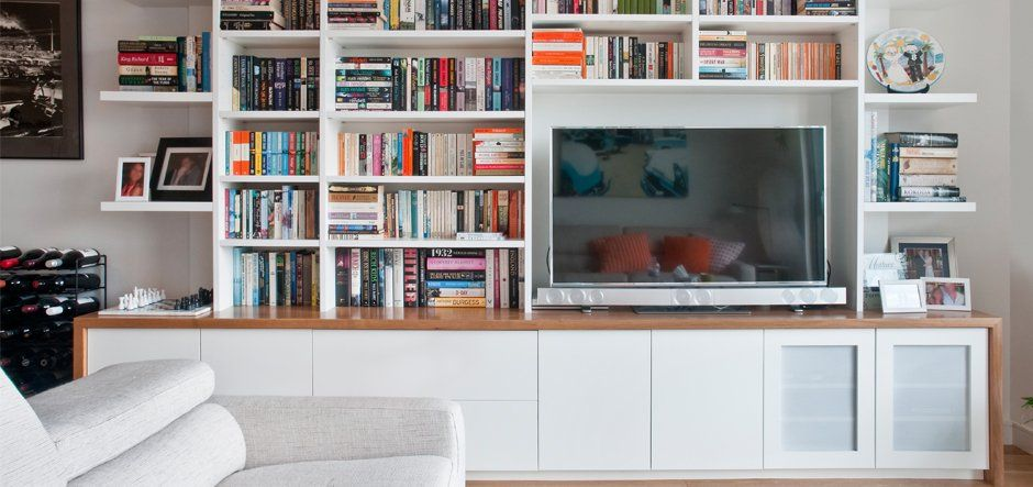White Wooden Media and Storage Unit | Living joinery | Pinterest ...