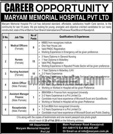 Maryam Memorial Hospital Jobs  In Rawalpindi For Medical