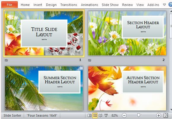Four Seasons PowerPoint Template Microsoft PowerPoint Templates