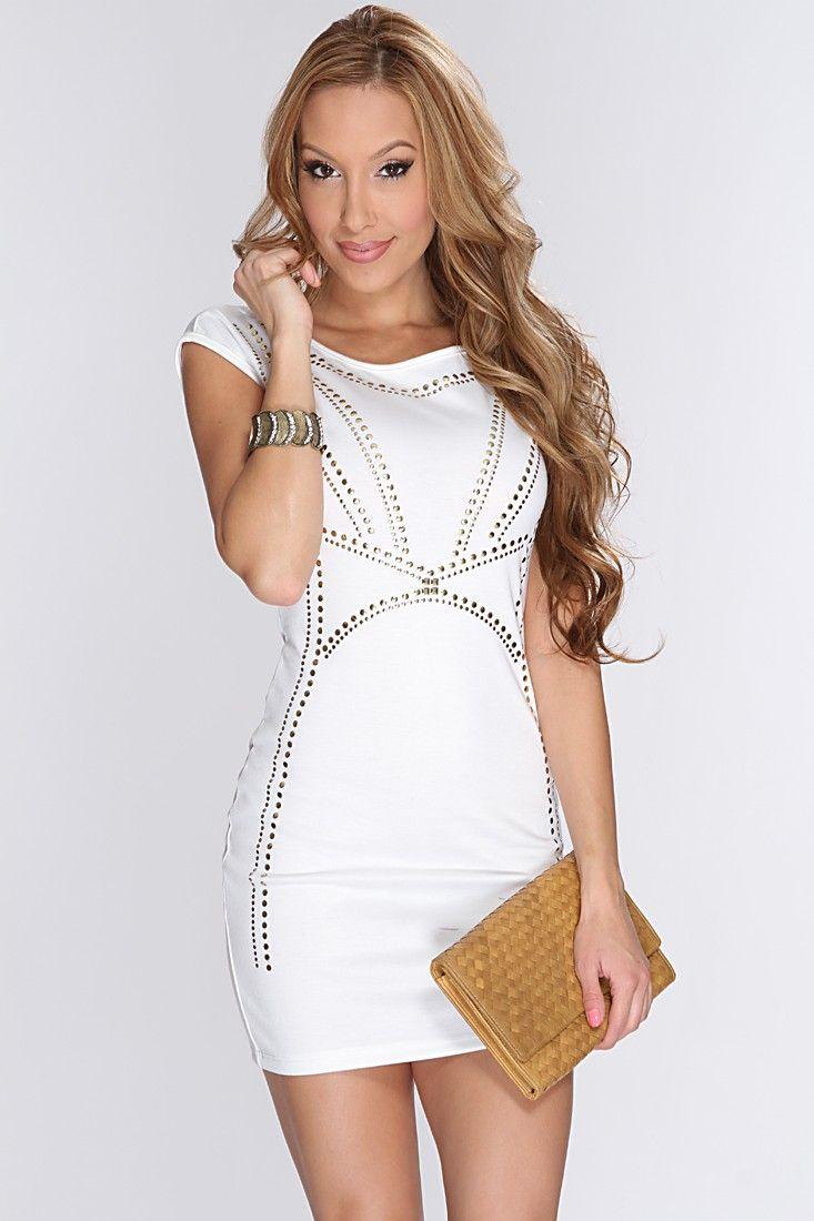 Spring cocktail attire for short women | White Studded Short Sleeve ...
