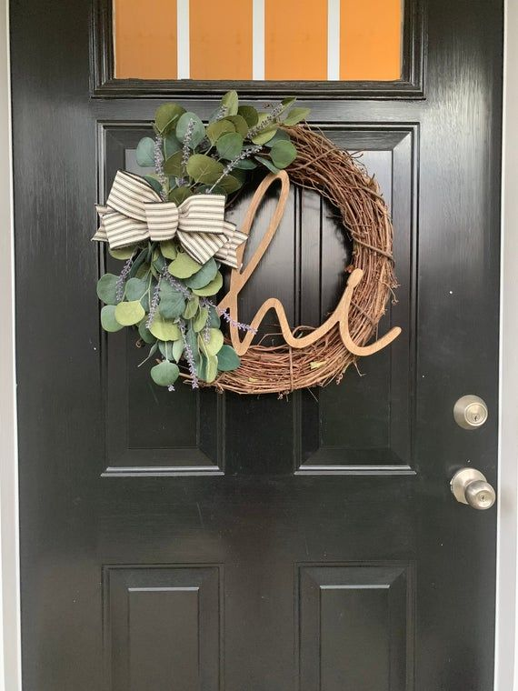 Photo of Farmhouse Wreath for Front Door, Lavender Wreath, Eucalyptus Wreath, Hi Wreath, Year Round Wreath, E