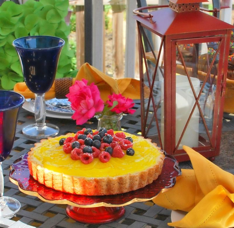 RECIPE for LEMON CHEESECAKE TART and $25 Pier 1 Imports gift card GIVEAWAY.    http://buttercream-bakehouse.com/2014/06/lemon-cheesecake-tart.html  #Pier1OutdoorParty #Sponsored #MC.
