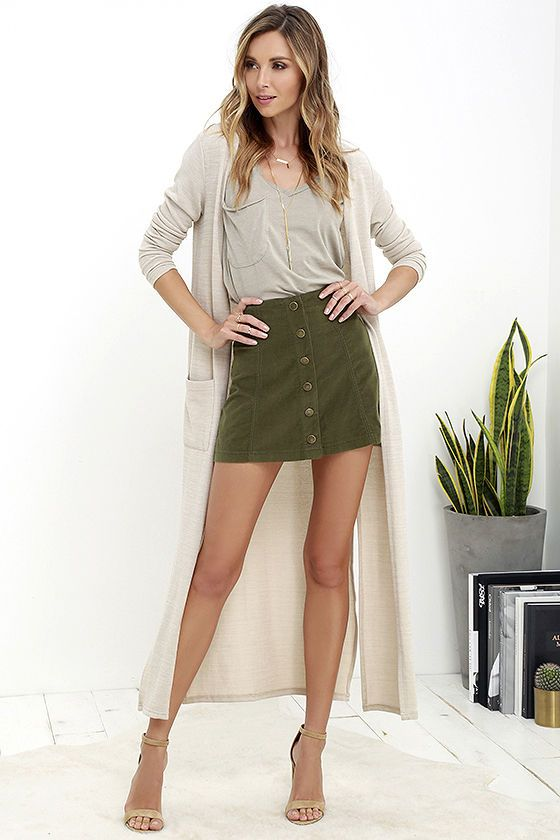45a2276dff9c ... like the White Crow Austin Olive Green Corduroy Mini Skirt have us  swooning! This lightweight A-line skirt has a high-waisted fit and front  snap button ...