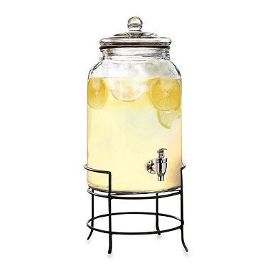 2 75 Gallon Glass Beverage Dispenser With Metal Stand