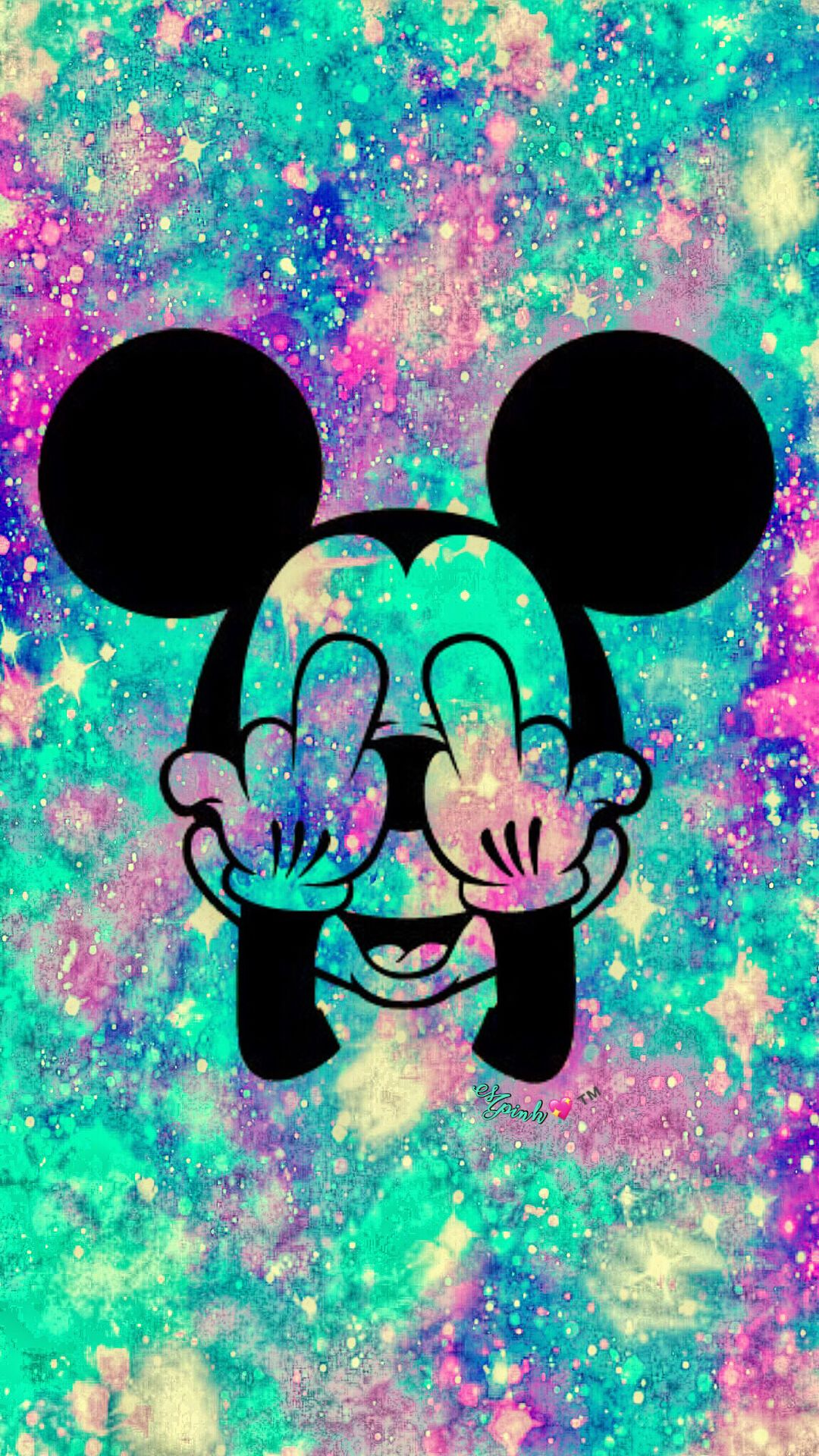 Grunge Mickey Mouse Galaxy Wallpaper Androidwallpaper