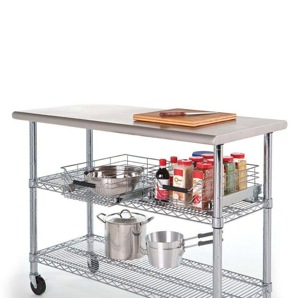 Pin By Robin Spencer On Apartment In 2020 Stainless Steel Work Table Stainless Steel Kitchen Island Kitchen Work Tables
