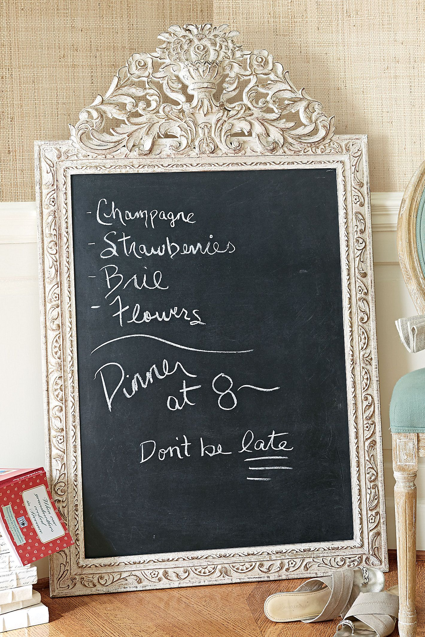 Inform your guests of your dinner menu, organize your family schedule, or just use it for fun quotes - you'll love our Allier Framed Chalkboard - now on sale!