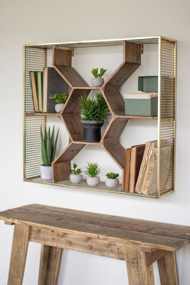 Wooden Honeycomb Wall Shelf Metal Mesh Frame Antique Br Finish