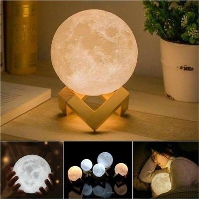 3d Printing Moon Lamp Moonlight Usb Led Night Lunar Light Touch Color Changing In 2020 Moon Nightlight Night Light Lamp Moon Light Lamp