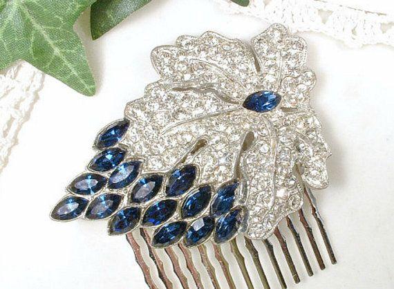 1930s Dress Clips Hair Piece Art Deco Rhinestone Something Old Blue Sapphire Crystal Headpiece Vintage 1940s Navy Bridal HAIR COMB Wedding